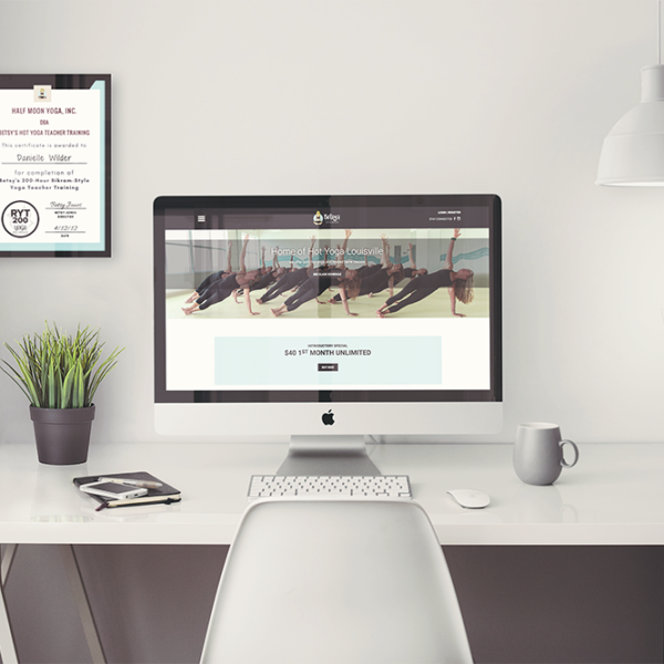 Betsy's Hot Yoga Studio Desktop Homepage Mockup